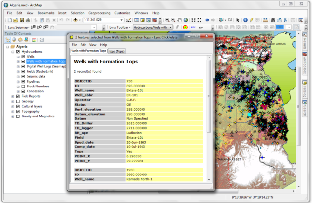 Clickrelate screenshot in ESRI ArcMap