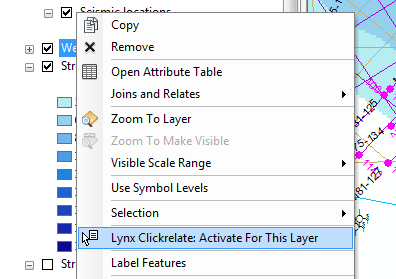 Activate Clickrelate from the layer context menu