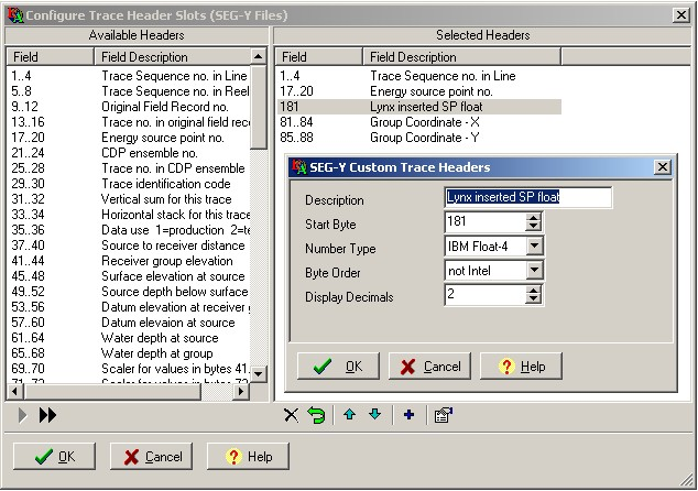 Tracedmp trace header field selection